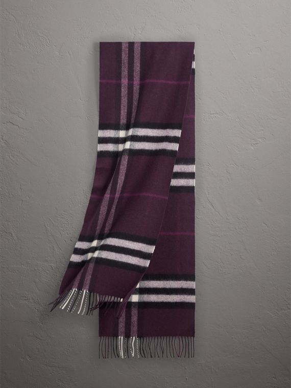 The Classic Check Cashmere Scarf in Aubergine | Burberry