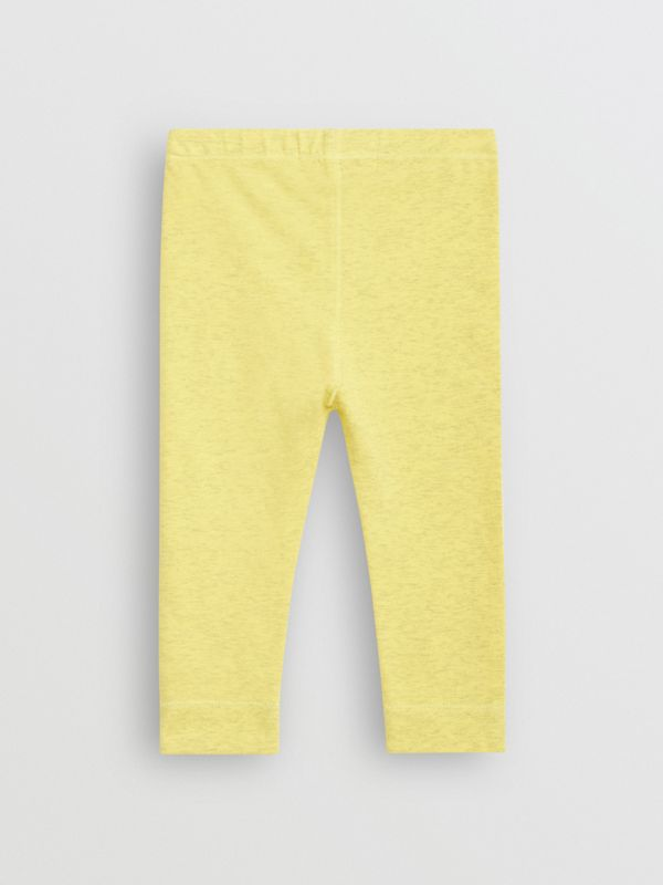 Logo Print Stretch Jersey Leggings in Citrus Yellow - Children | Burberry - cell image 3