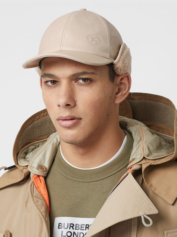 Leather and Shearling Cap in Limestone | Burberry - cell image 3