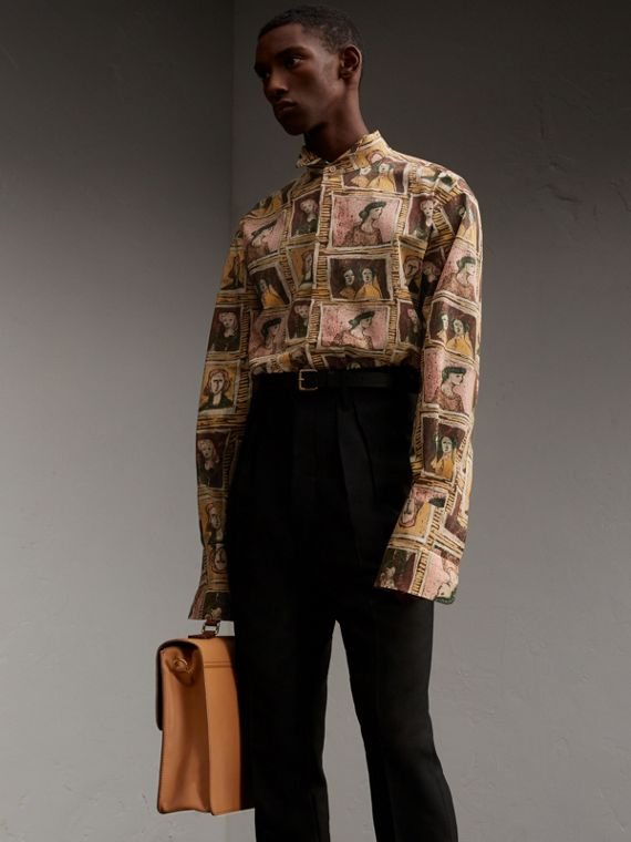 Framed Heads Print Cotton Shirt - Men | Burberry Australia