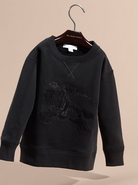 Black Equestrian Knight Detail Cotton Sweatshirt - cell image 2