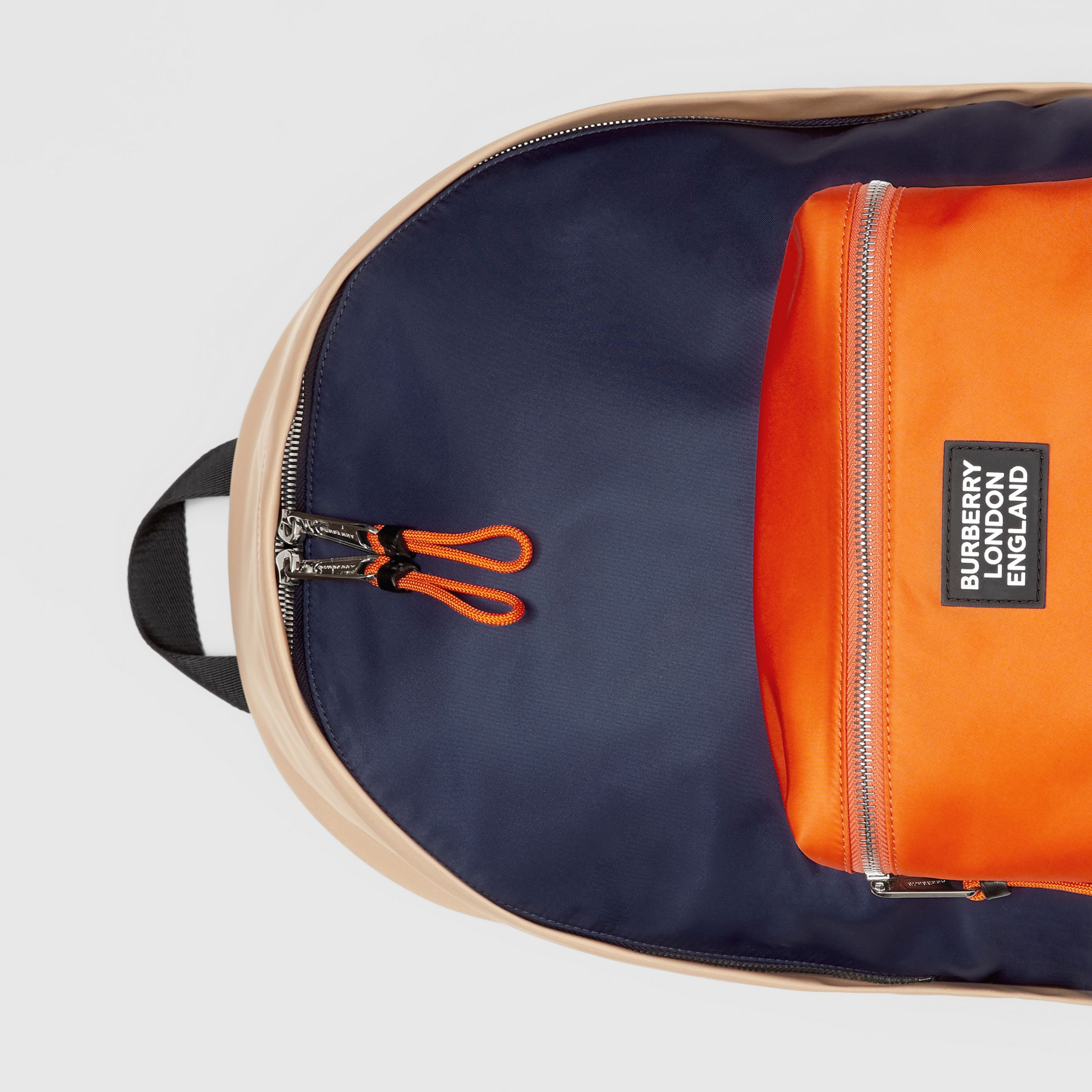 Colour Block ECONYL® Backpack in Regency Blue/bright Orange - Men | Burberry - 2