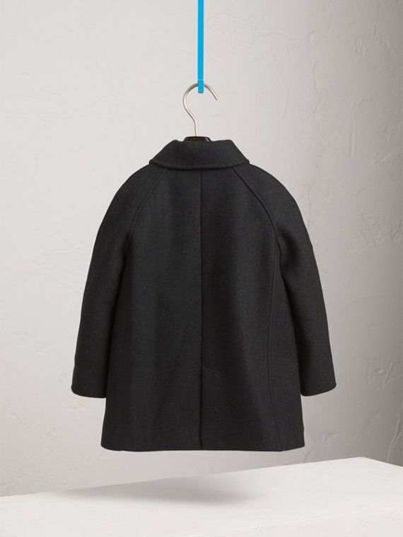 Wool Cashmere Blend Car Coat in Dark Grey Melange - Boy | Burberry United Kingdom - cell image 3