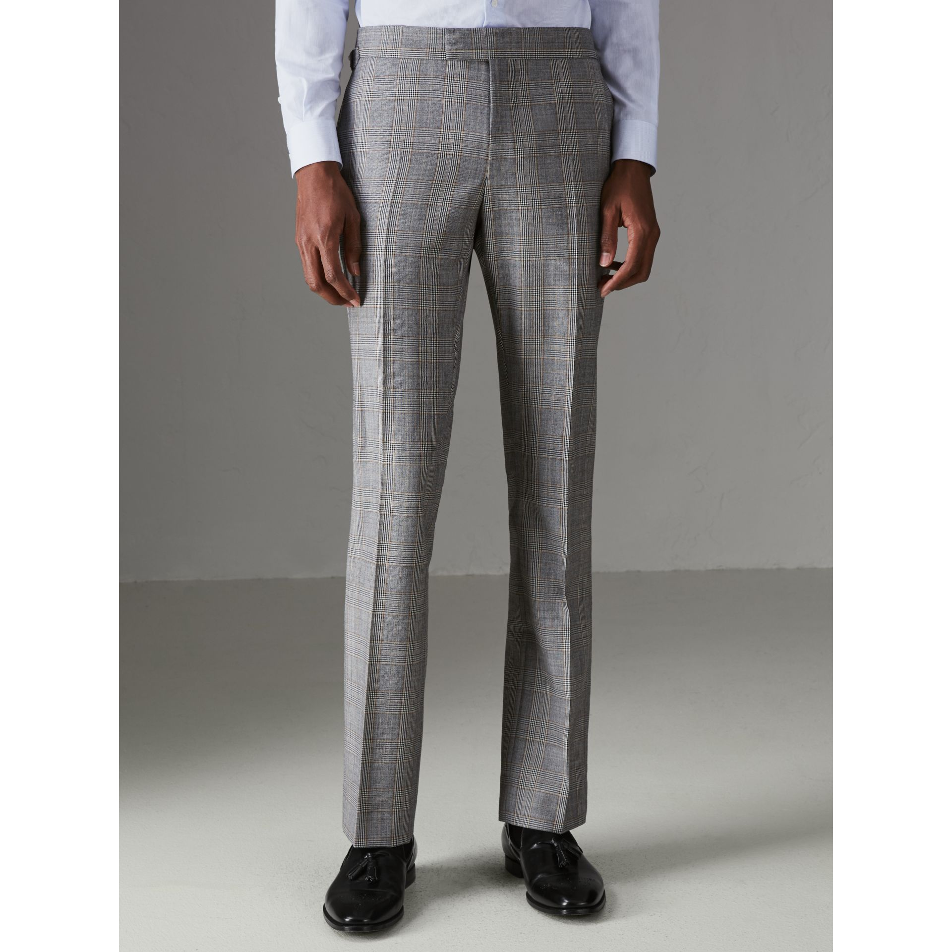 Slim Fit Prince of Wales Check Wool Cashmere Suit in Mid Grey - Men | Burberry - gallery image 6