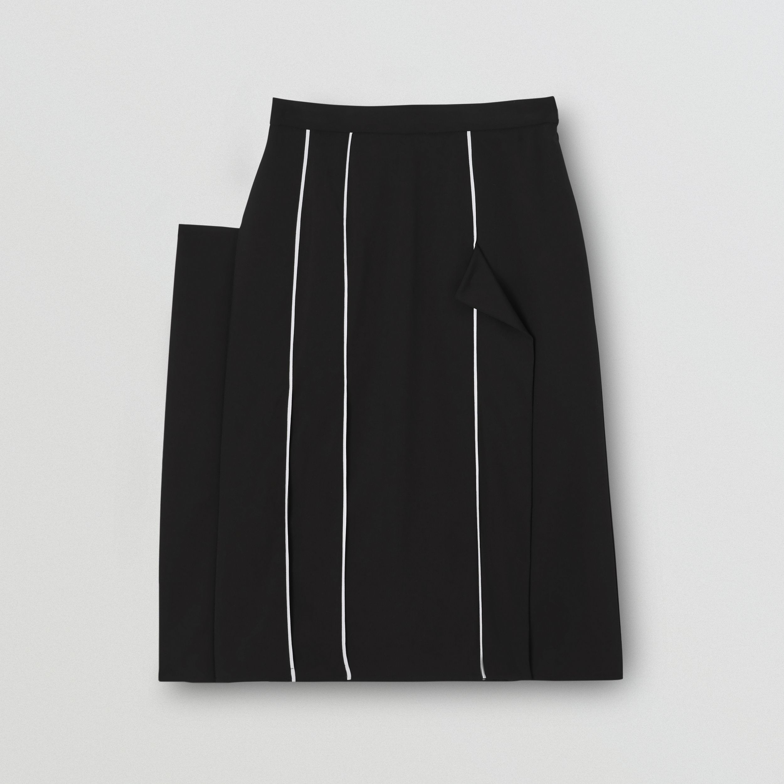 Piping Detail Stretch Wool Crepe Skirt in Black - Women | Burberry - 4