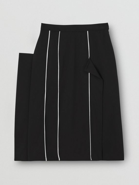 Piping Detail Stretch Wool Crepe Skirt in Black