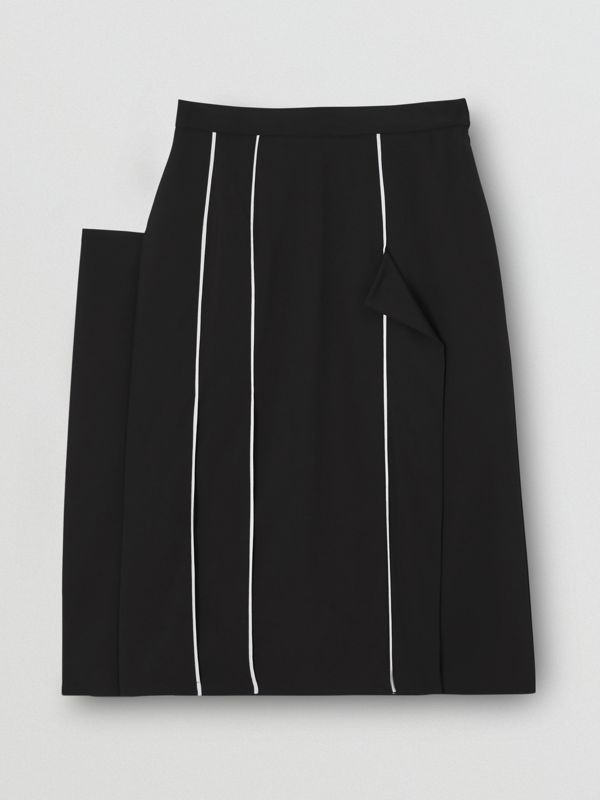 Piping Detail Stretch Wool Crepe Skirt in Black - Women | Burberry - cell image 3