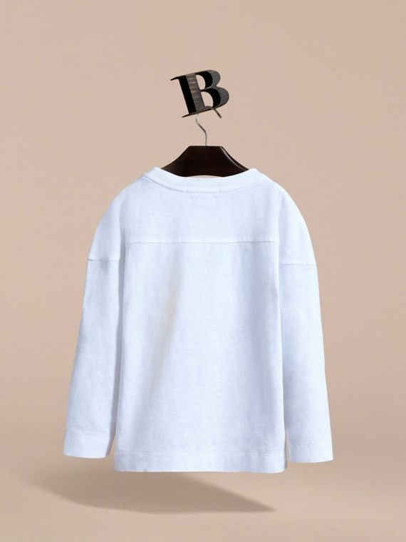 Long-sleeve London Icons Cotton Top in White - Boy | Burberry - cell image 3