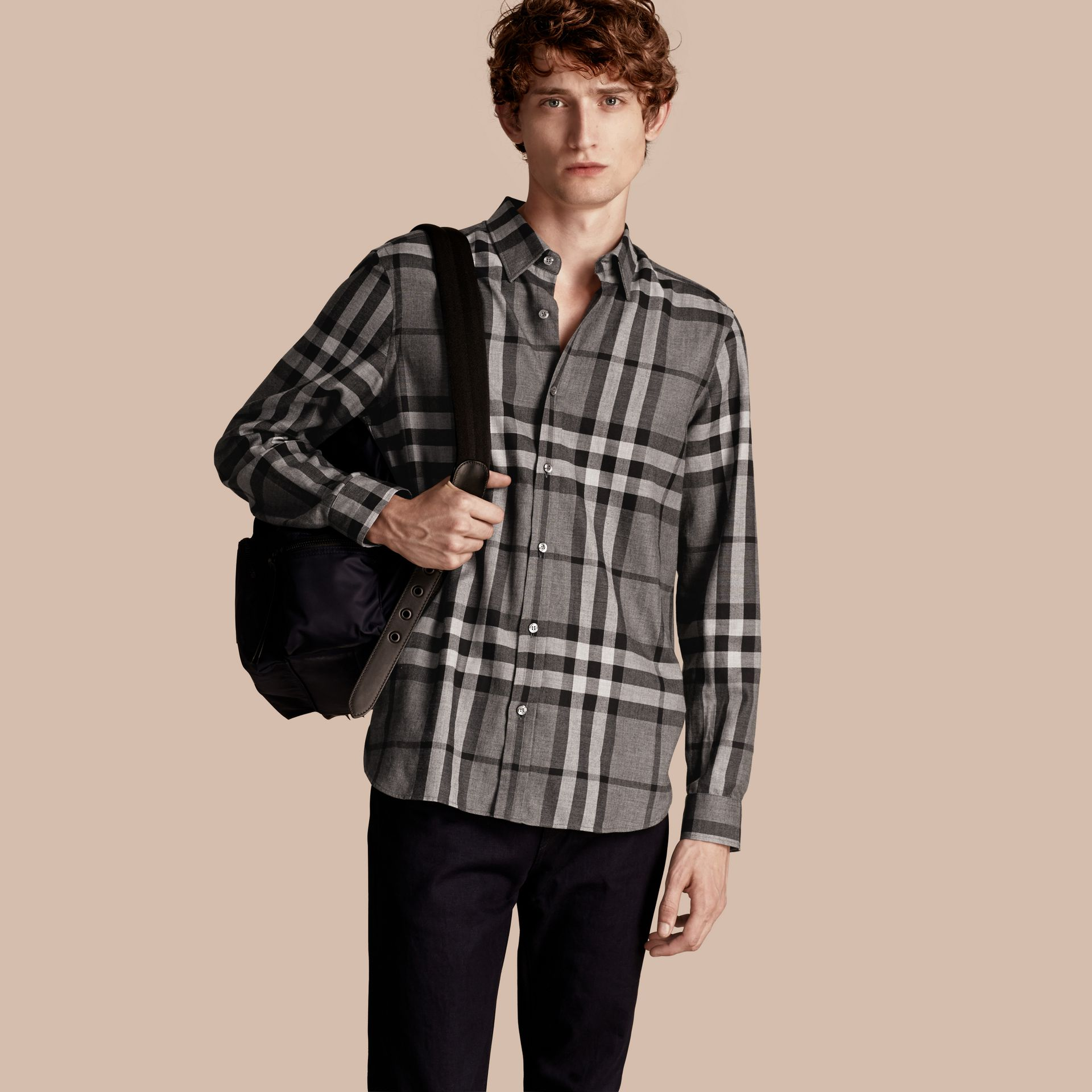 Mid grey melange Check Cotton Cashmere Flannel Shirt Mid Grey Melange - gallery image 1