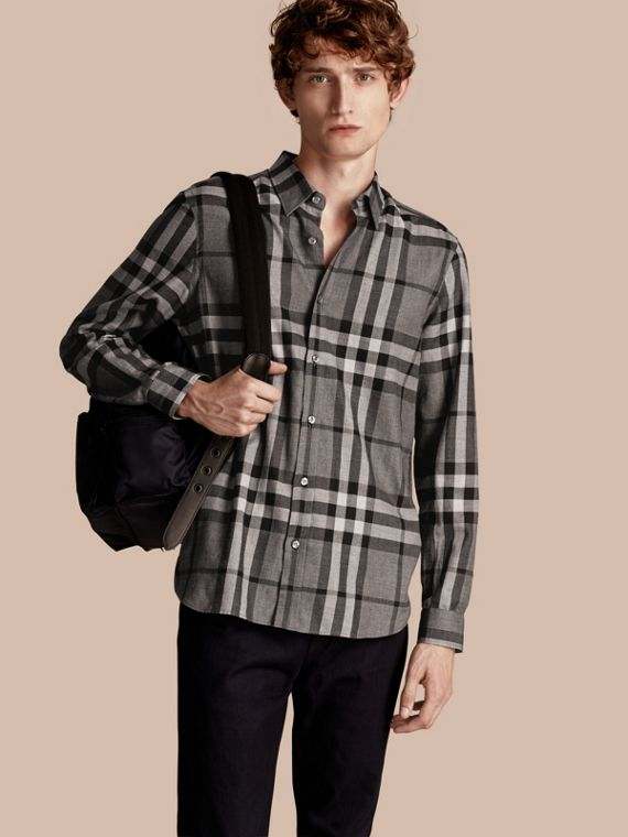 Check Cotton Cashmere Flannel Shirt Mid Grey Melange