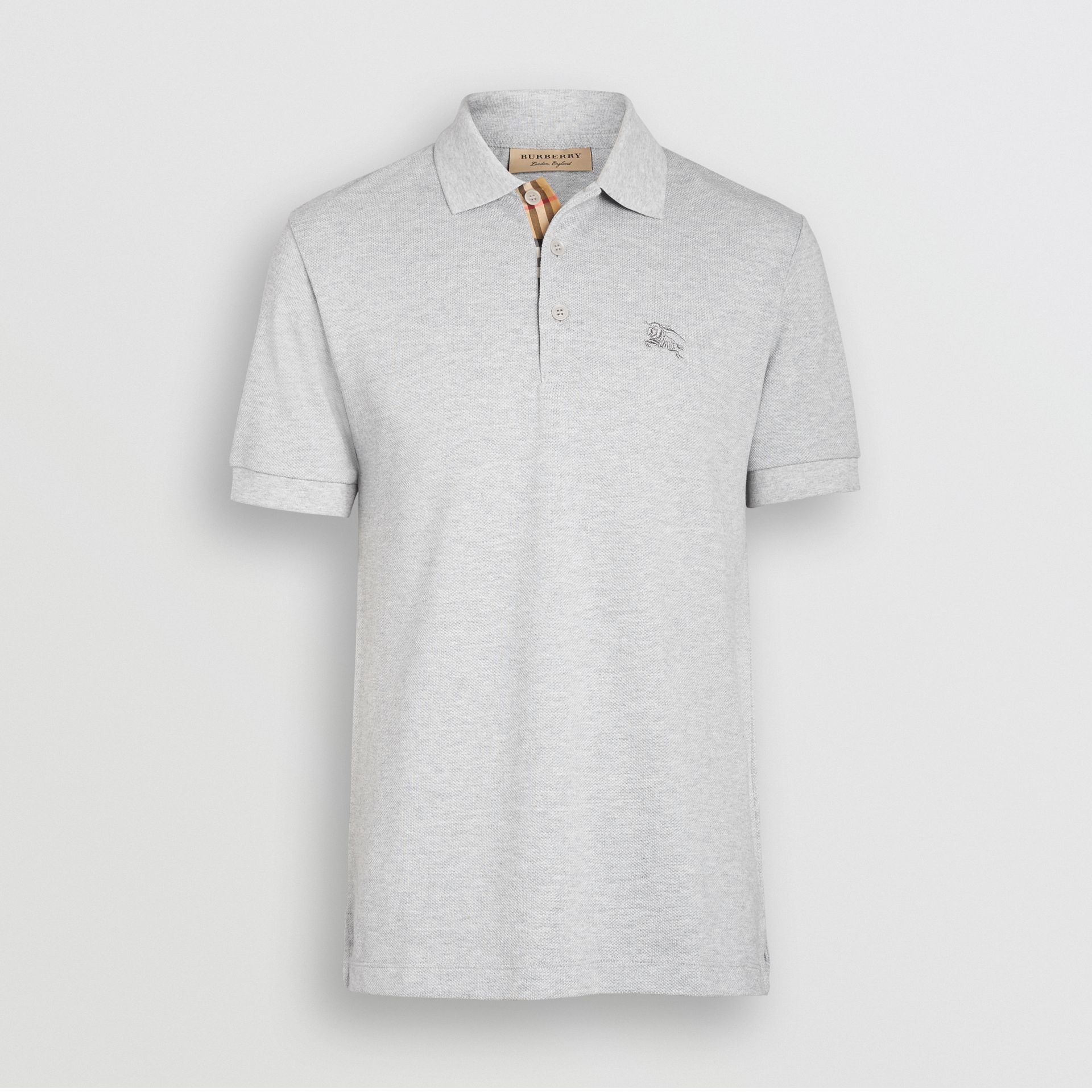 Check Placket Cotton Polo Shirt in Pale Grey Melange - Men | Burberry Canada - gallery image 3