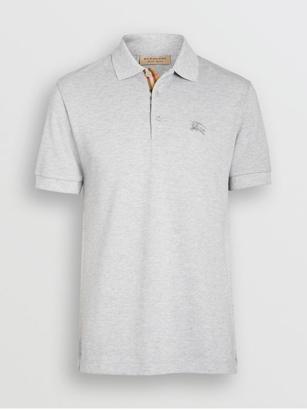 Check Placket Cotton Polo Shirt in Pale Grey Melange - Men | Burberry United Kingdom - cell image 3