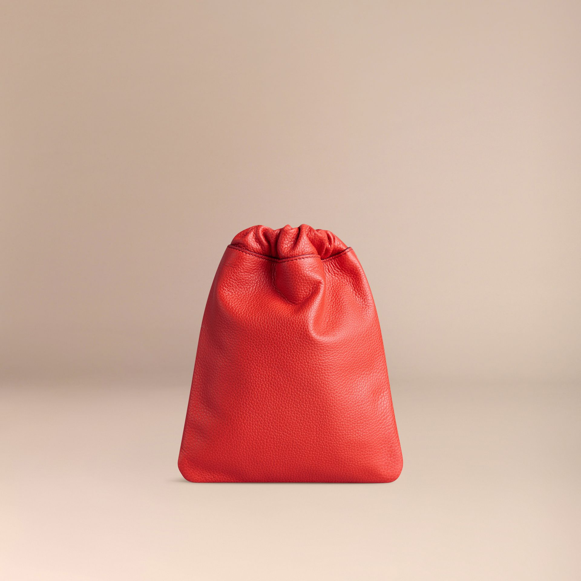 Orange red Grainy Leather Drawstring Pouch Orange Red - gallery image 4