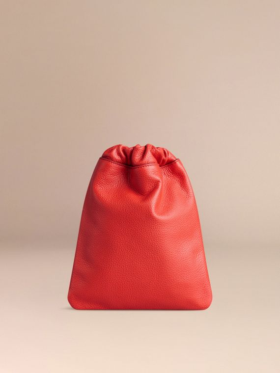 Orange red Grainy Leather Drawstring Pouch Orange Red - cell image 3