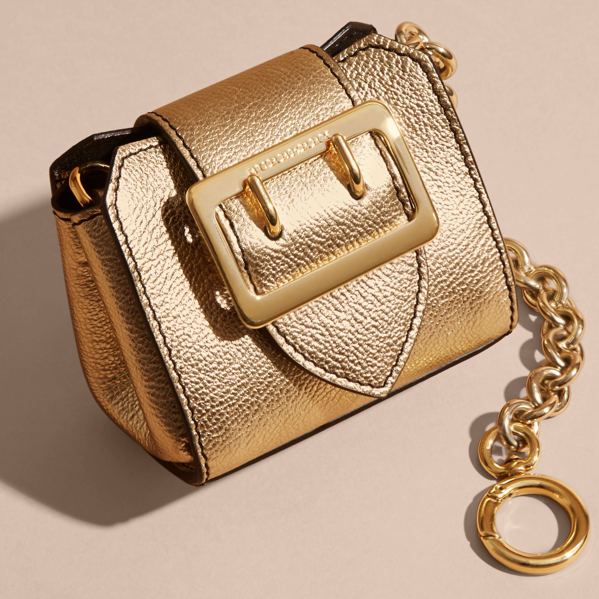 The Mini Buckle Tote Charm in Metallic Leather in Gold - gallery image 3