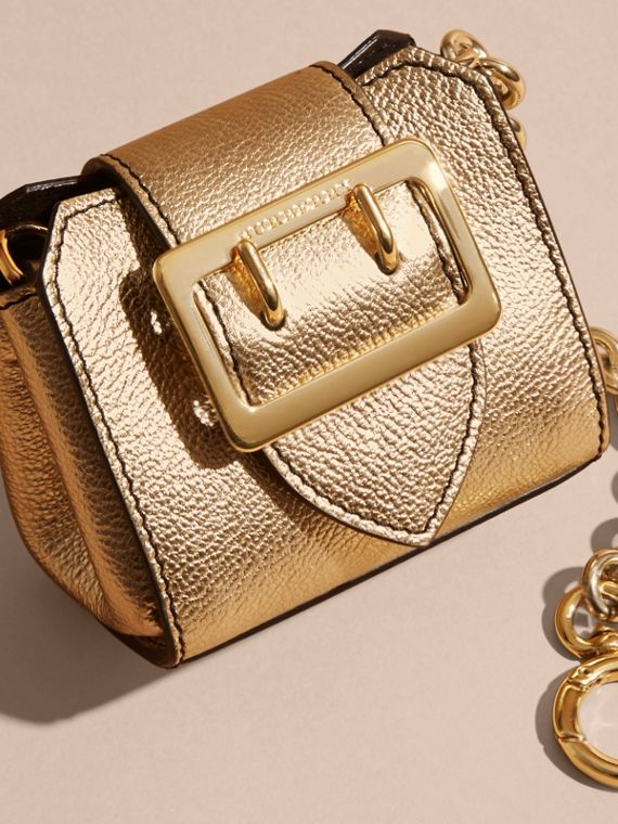 Gold The Mini Buckle Tote Charm in Metallic Leather Gold - cell image 2