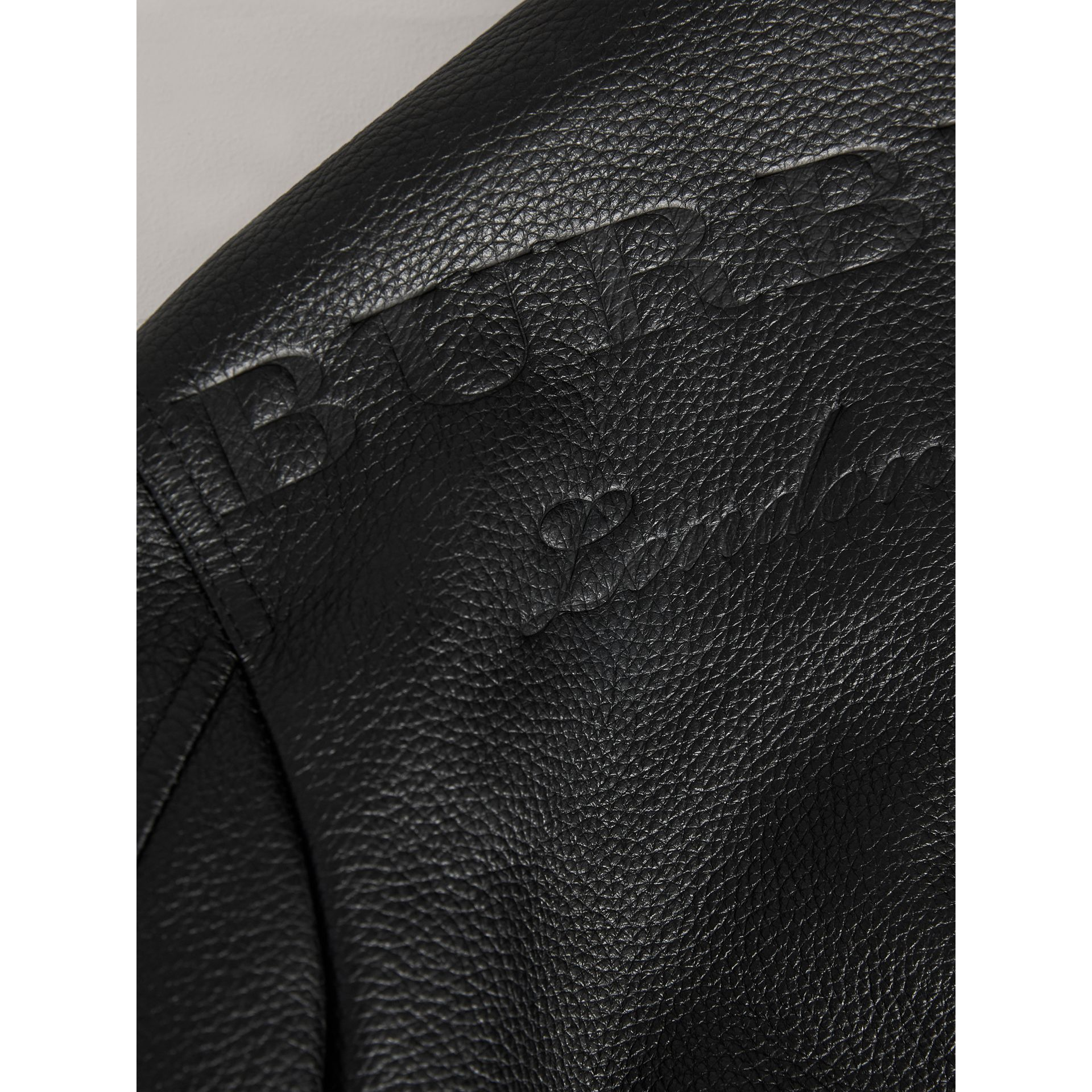 Embossed Deerskin Bomber Jacket in Black - Boy | Burberry - gallery image 2