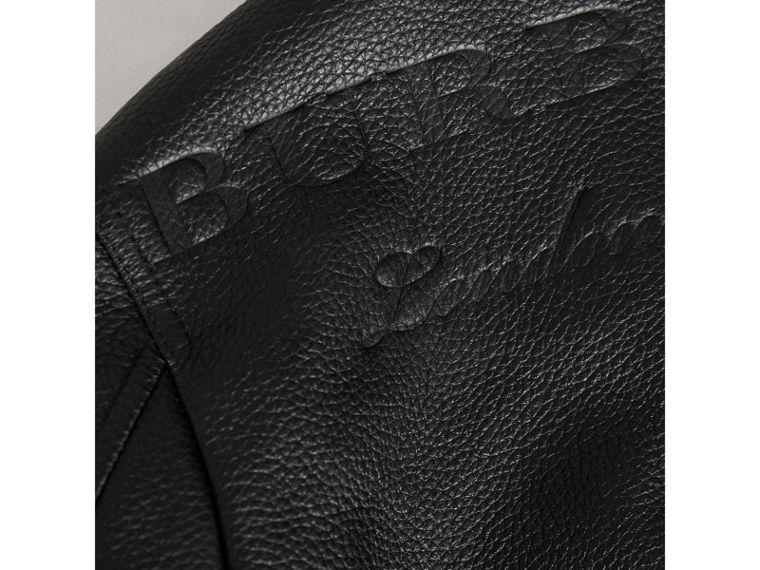 Embossed Deerskin Bomber Jacket in Black - Boy | Burberry - cell image 1