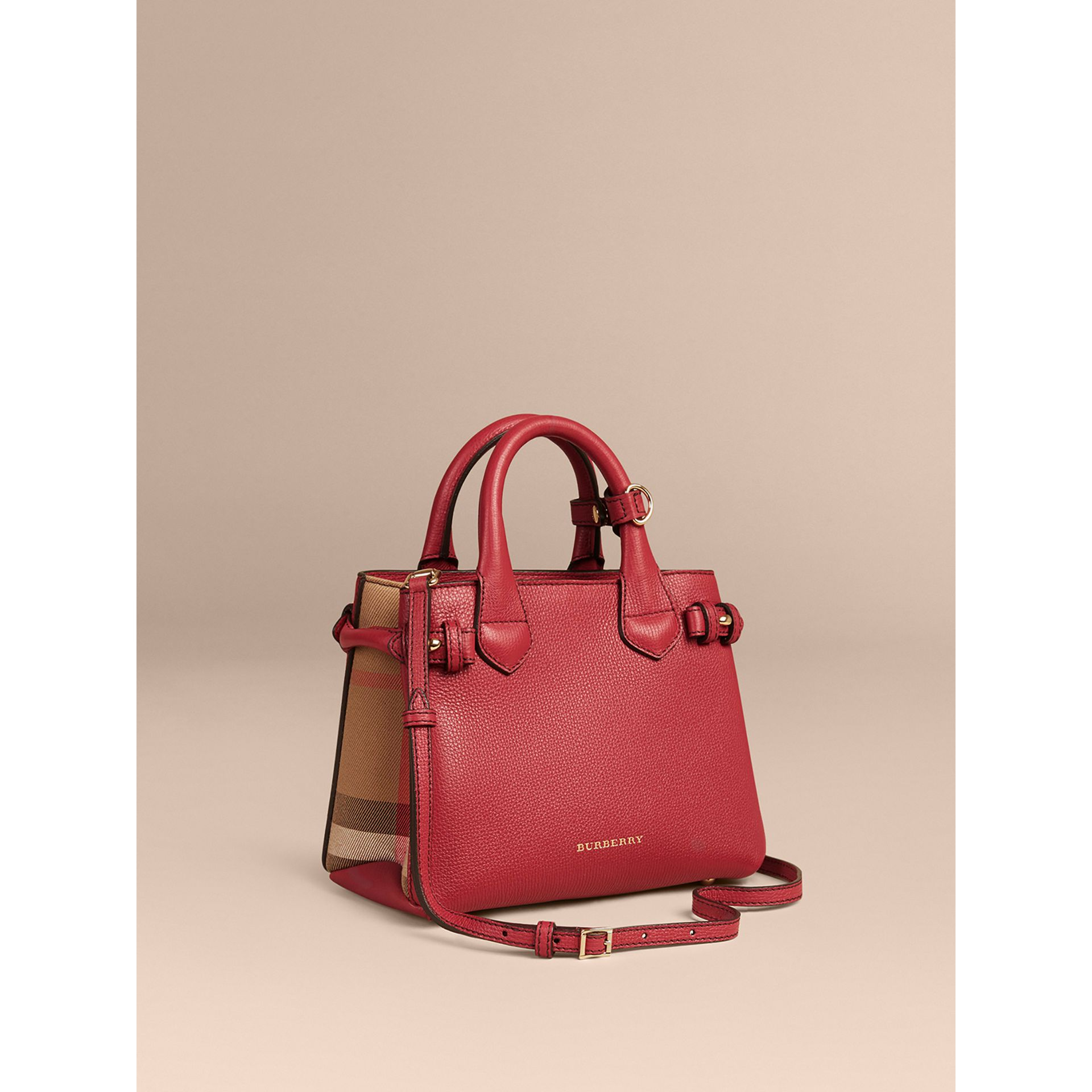 The Baby Banner in Leather and House Check in Russet Red - Women | Burberry United States - gallery image 1