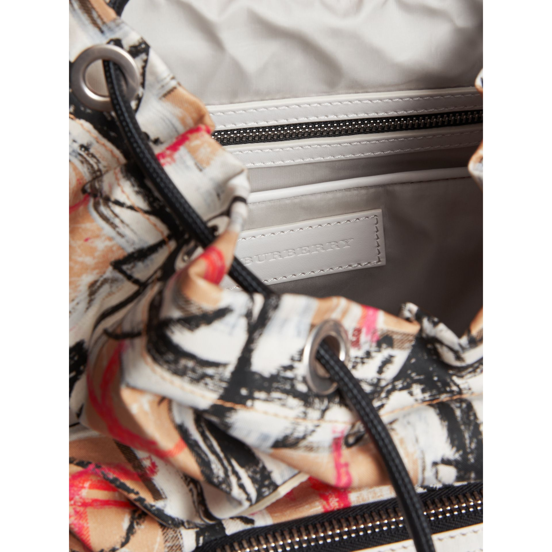 The Medium Rucksack in Scribble Vintage Check in Chalk White - Women | Burberry United Kingdom - gallery image 3
