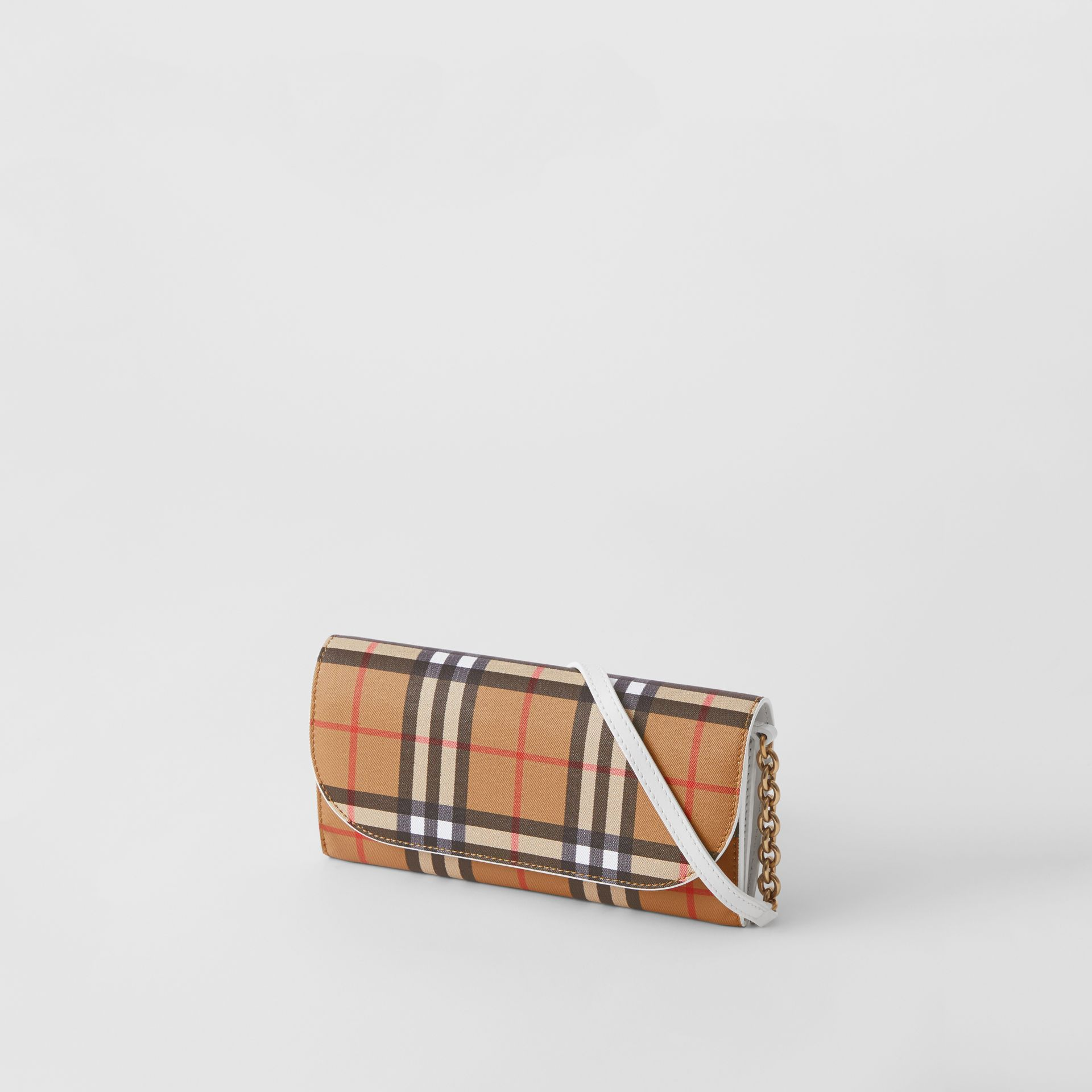 Vintage Check and Leather Wallet with Chain in Chalk White - Women | Burberry - gallery image 3