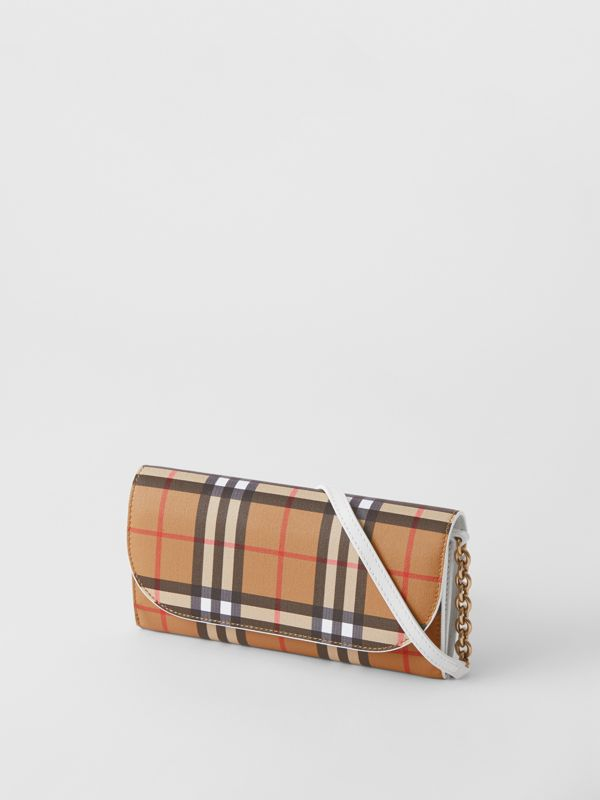 Vintage Check and Leather Wallet with Chain in Chalk White - Women | Burberry - cell image 3