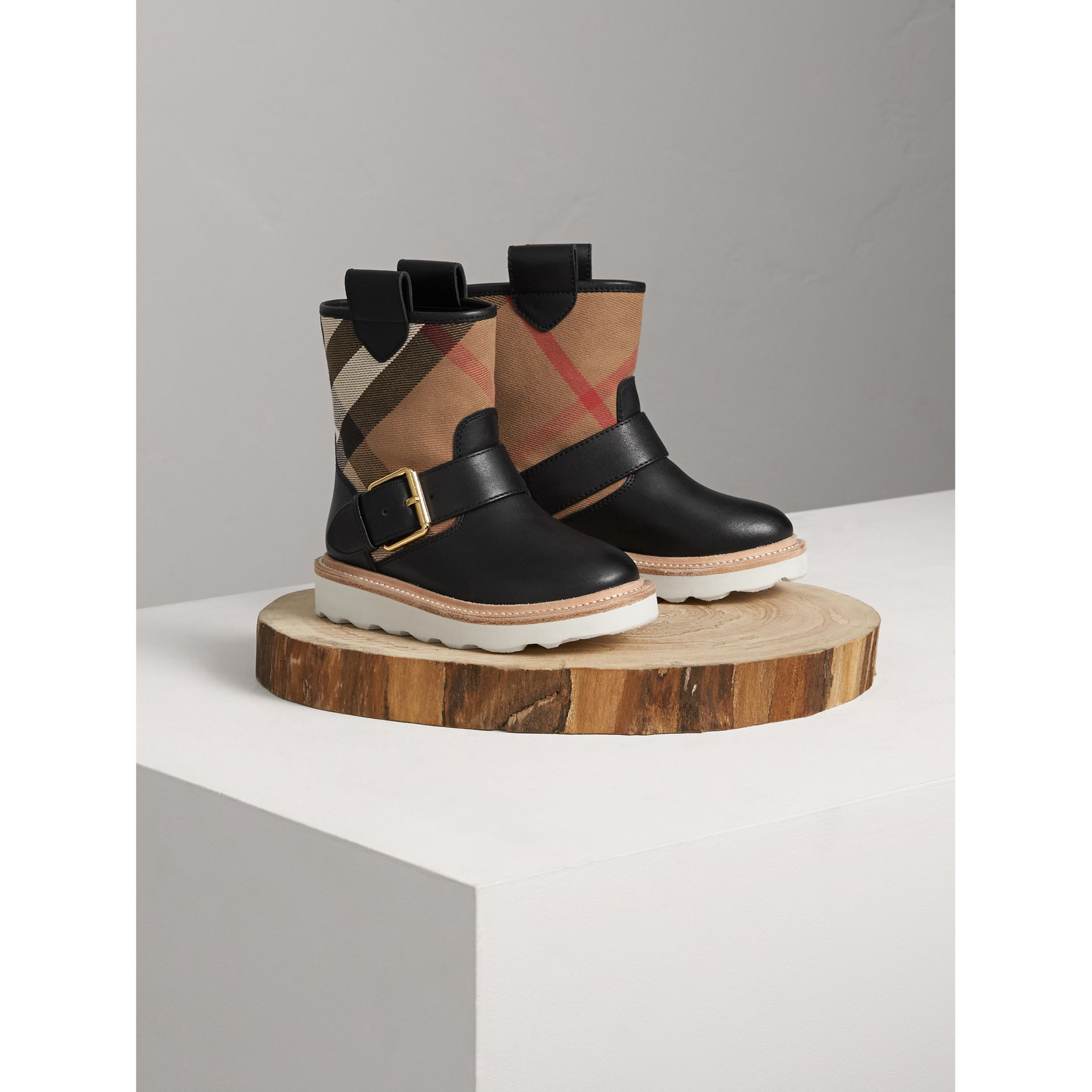 House Check and Leather Weather Boots in Classic | Burberry Australia - gallery image 1