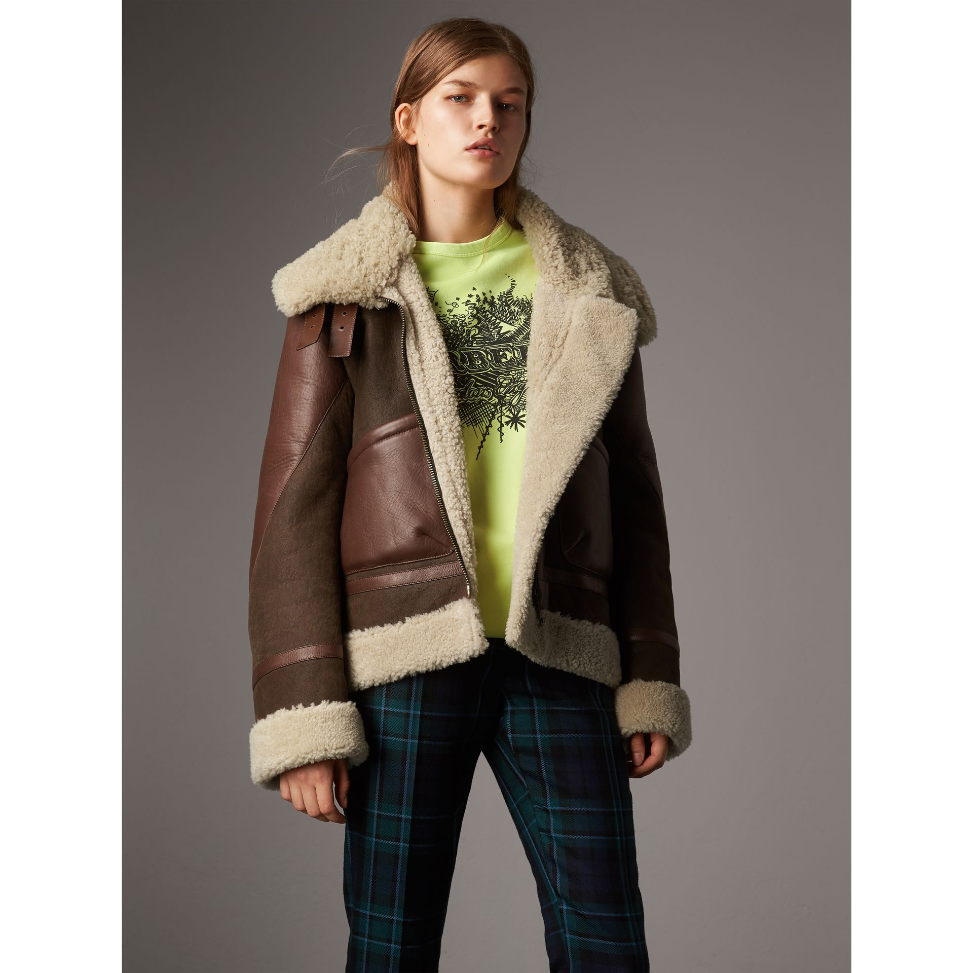 Lambskin Panelled Shearling Aviator Jacket in Dark Chocolate - Women | Burberry - gallery image 0