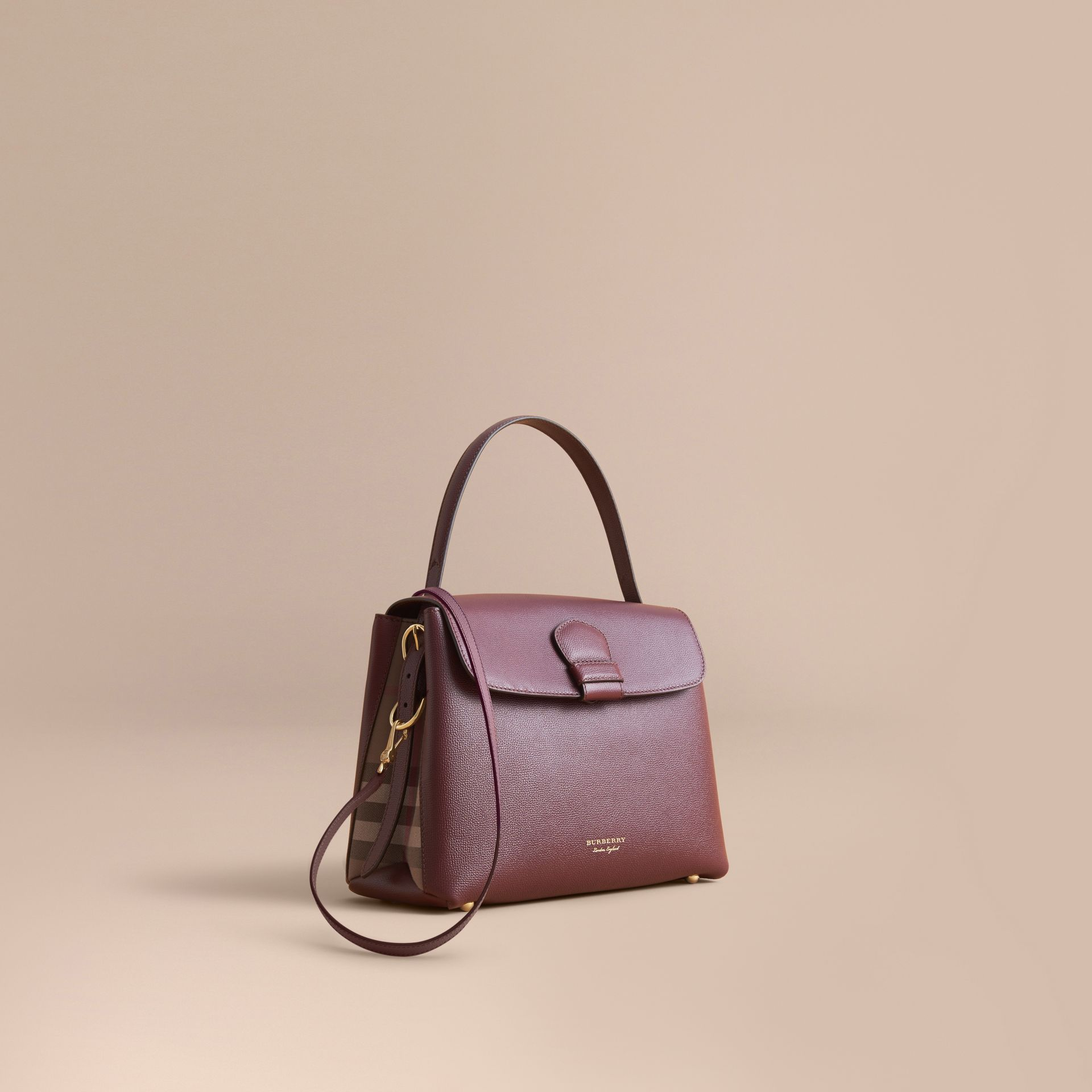 Medium Grainy Leather and House Check Tote Bag in Mahogany Red - Women | Burberry - gallery image 1