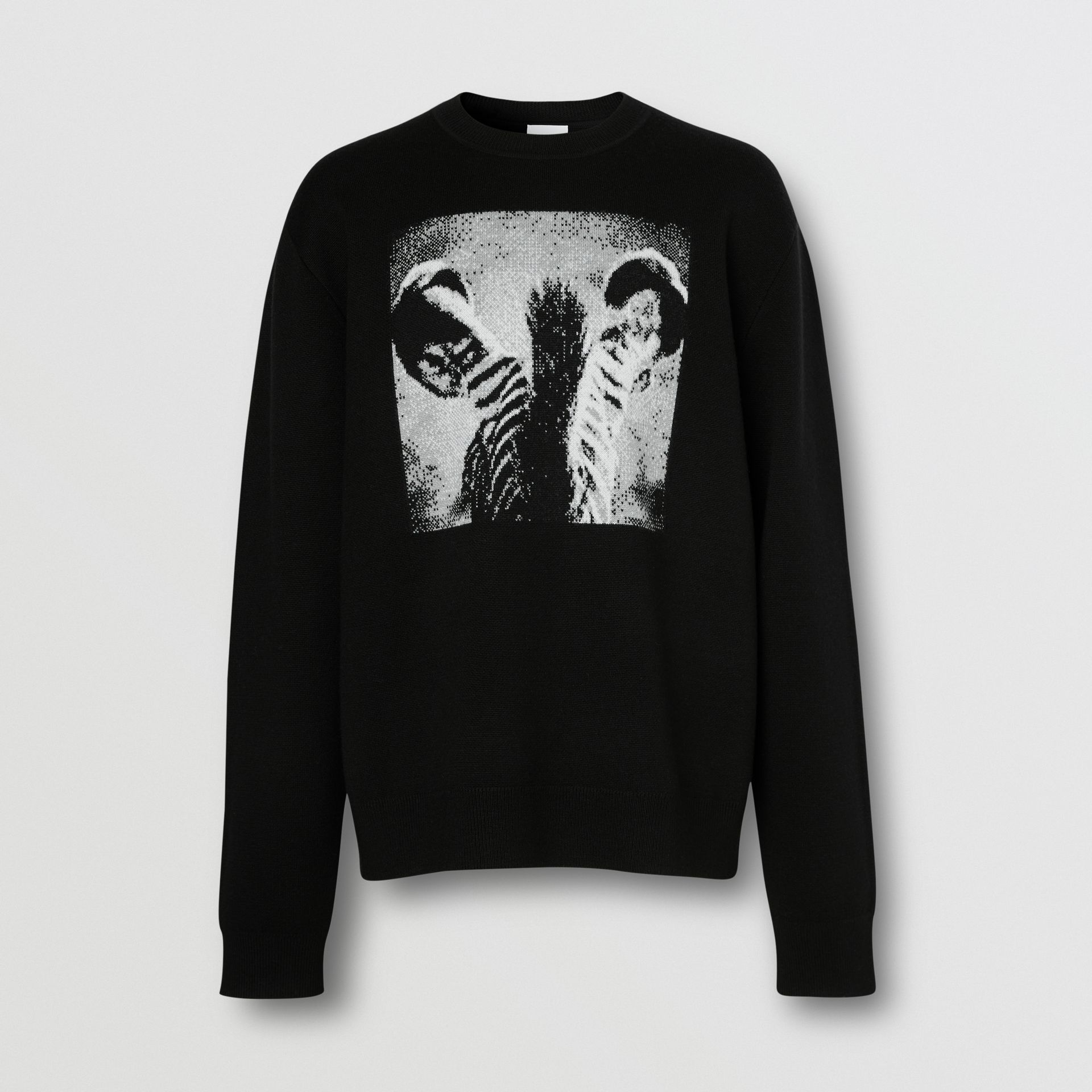 Zebra Wool Jacquard Sweater in Black | Burberry - gallery image 3