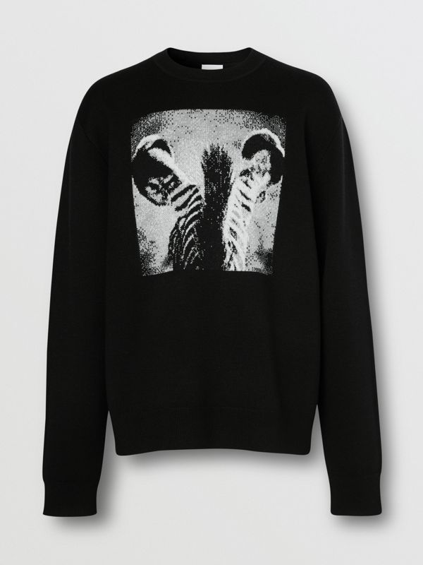 Zebra Wool Jacquard Sweater in Black | Burberry - cell image 3