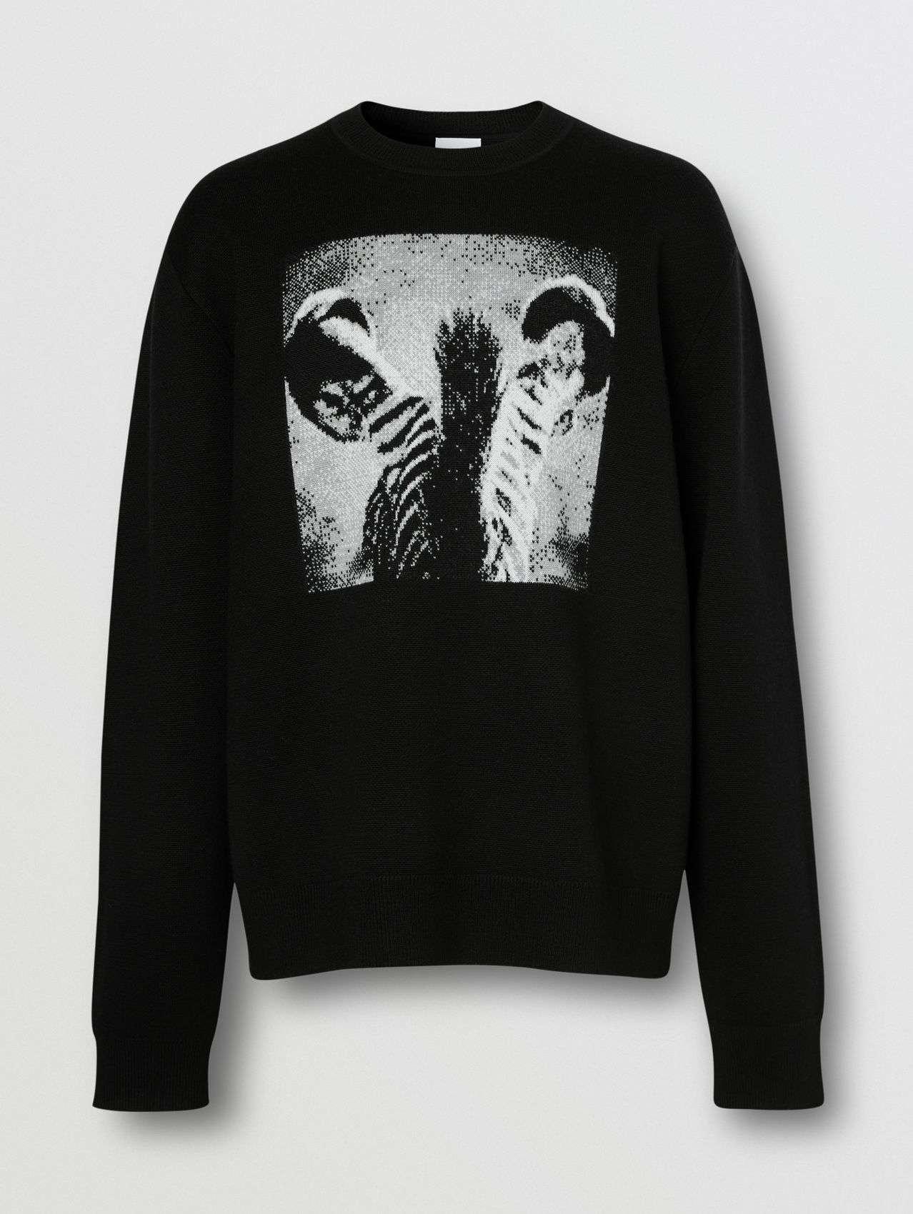 Zebra Wool Jacquard Sweater in Black