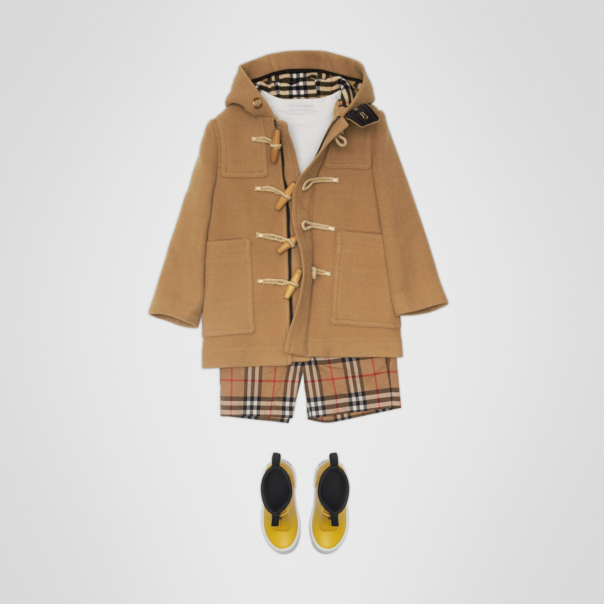 Double-faced Wool Duffle Coat in Antique Yellow | Burberry - gallery image 2