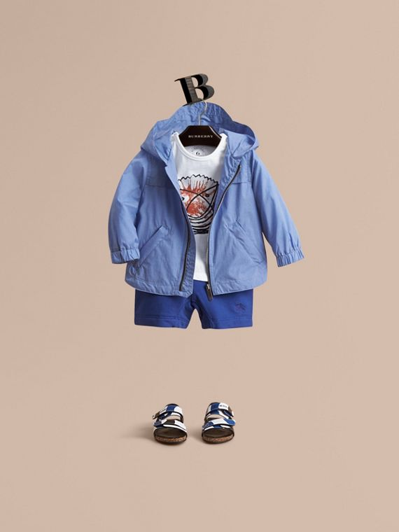 Showerproof Hooded Technical Jacket Hydrangea Blue