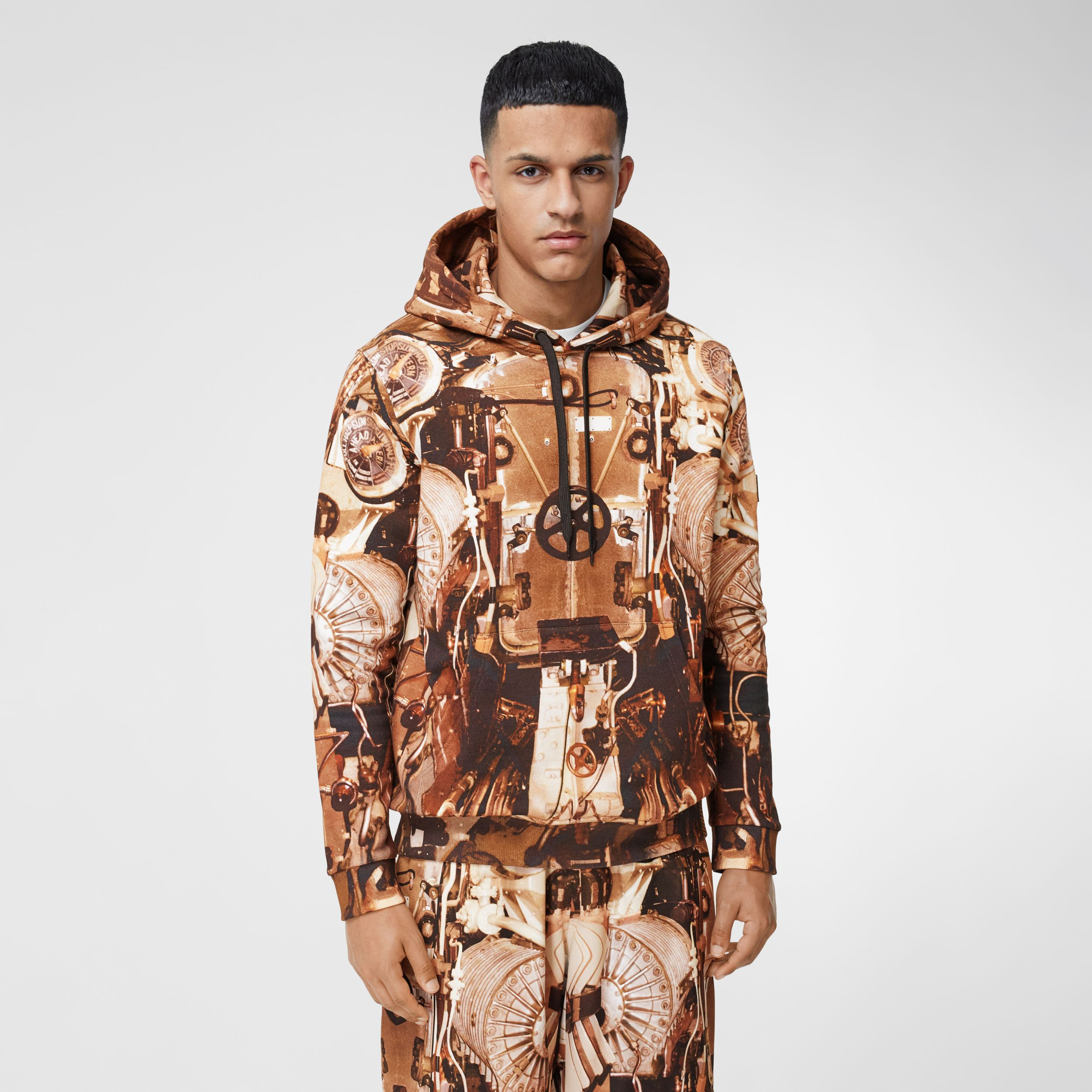 Submarine Print Cotton Hoodie in Bronze - Men | Burberry - 1