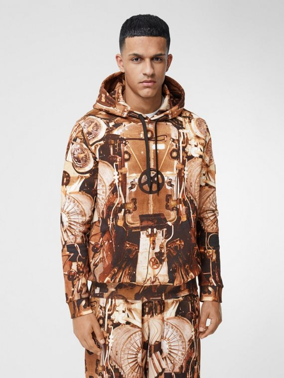 Submarine Print Cotton Hoodie in Bronze