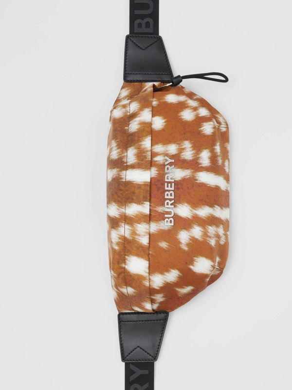 Medium Deer Print Bum Bag in Tan/white - Men | Burberry - cell image 3