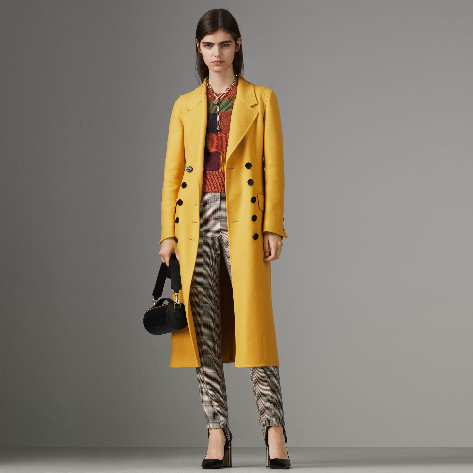 Double-breasted Cashmere Tailored Coat in Ochre Yellow - Women | Burberry Australia - gallery image 0