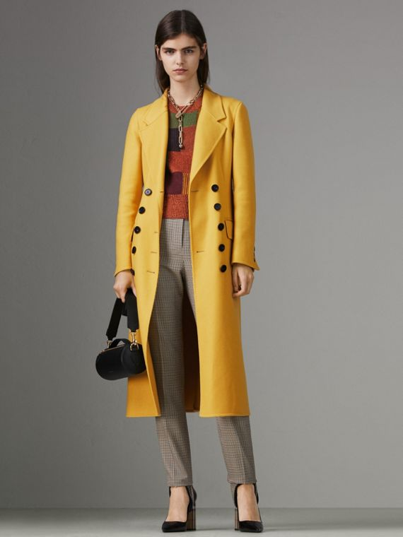 Double-breasted Cashmere Tailored Coat in Ochre Yellow