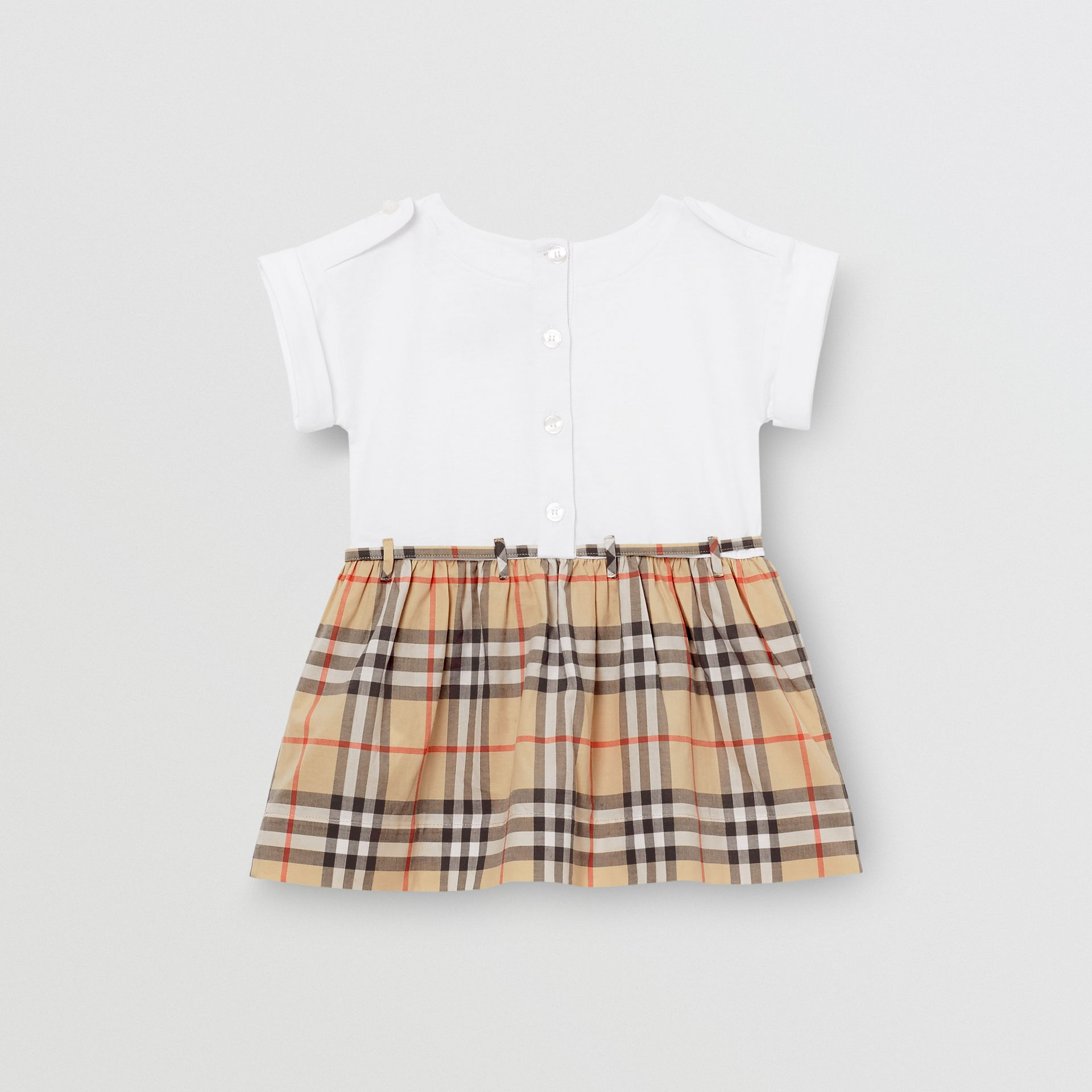 Vintage Check Detail Cotton Dress in White - Children | Burberry - gallery image 3