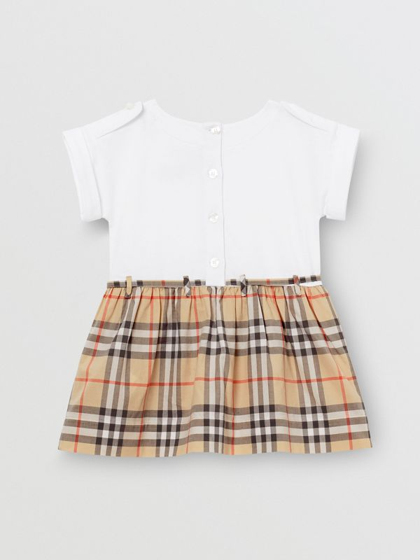 Vintage Check Detail Cotton Dress in White - Children | Burberry - cell image 3