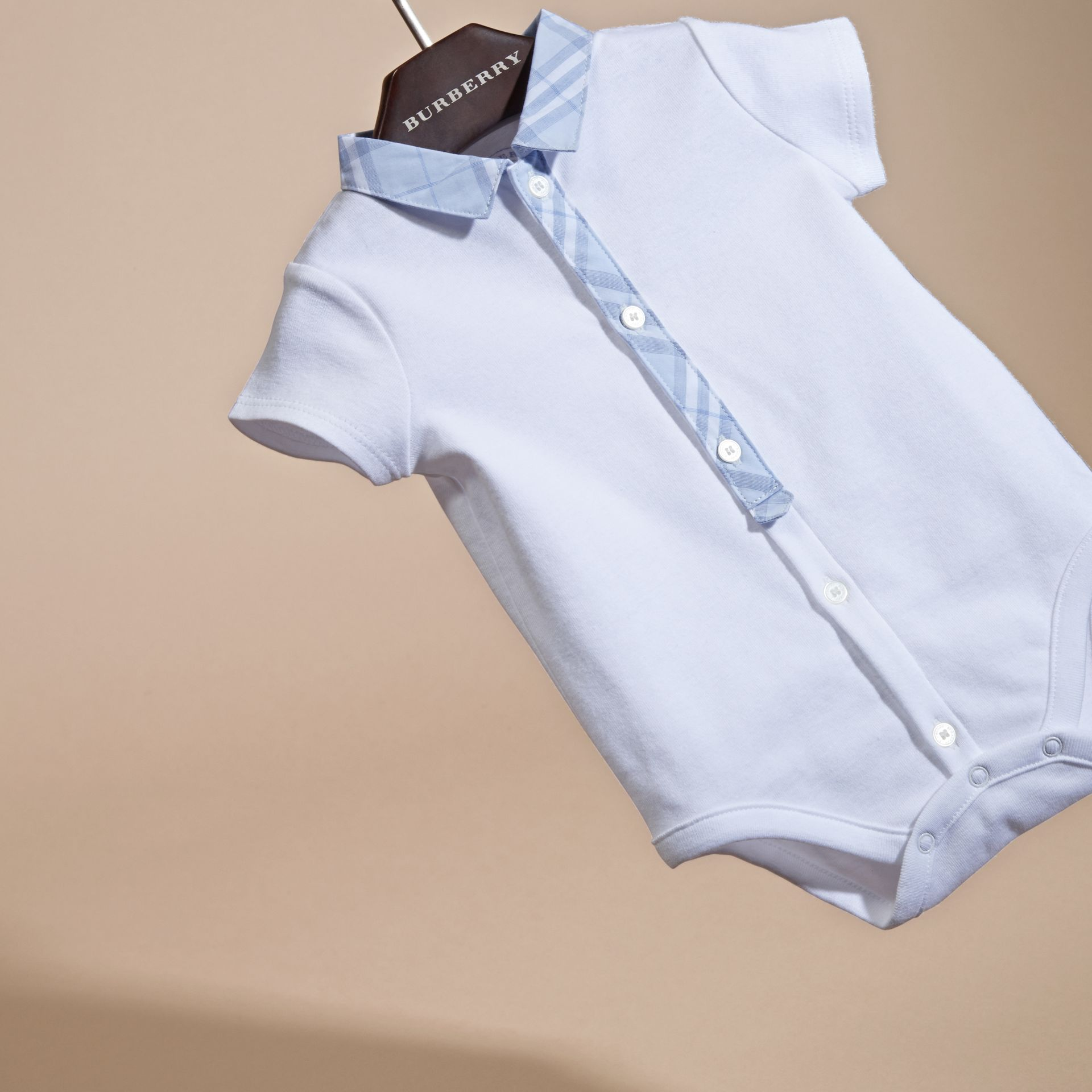 Check Detail Cotton Bodysuit in Ice Blue | Burberry - gallery image 3