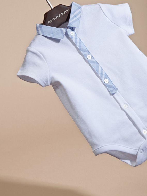 Check Detail Cotton Bodysuit in Ice Blue | Burberry - cell image 2