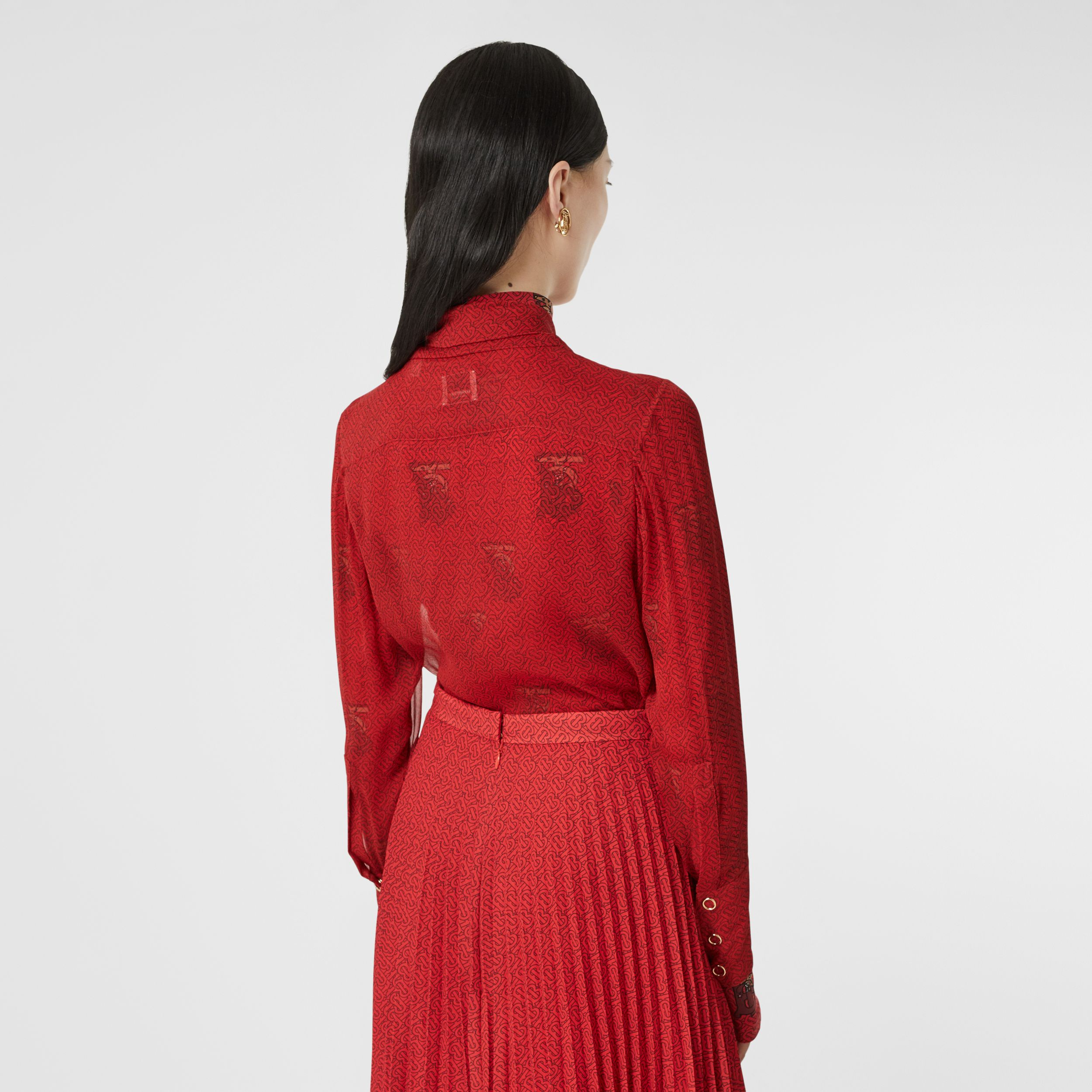 Monogram Print Silk Chiffon Pussy-bow Blouse in Bright Red - Women | Burberry - 3