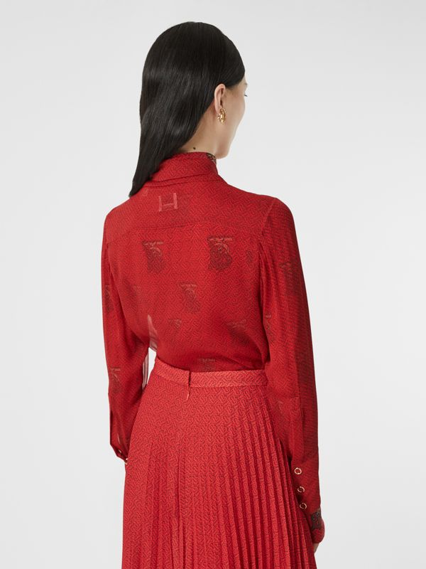 Monogram Print Silk Chiffon Pussy-bow Blouse in Bright Red - Women | Burberry - cell image 2