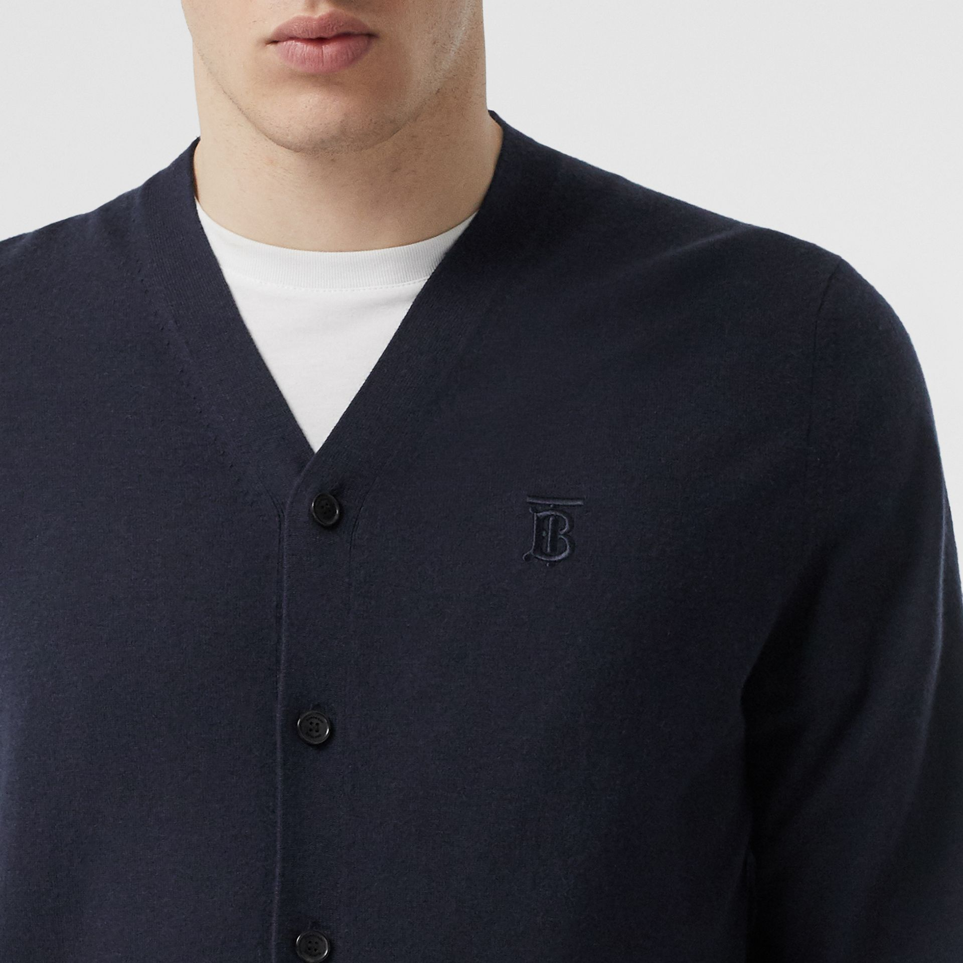 Monogram Motif Cashmere Cardigan in Navy - Men | Burberry - gallery image 1