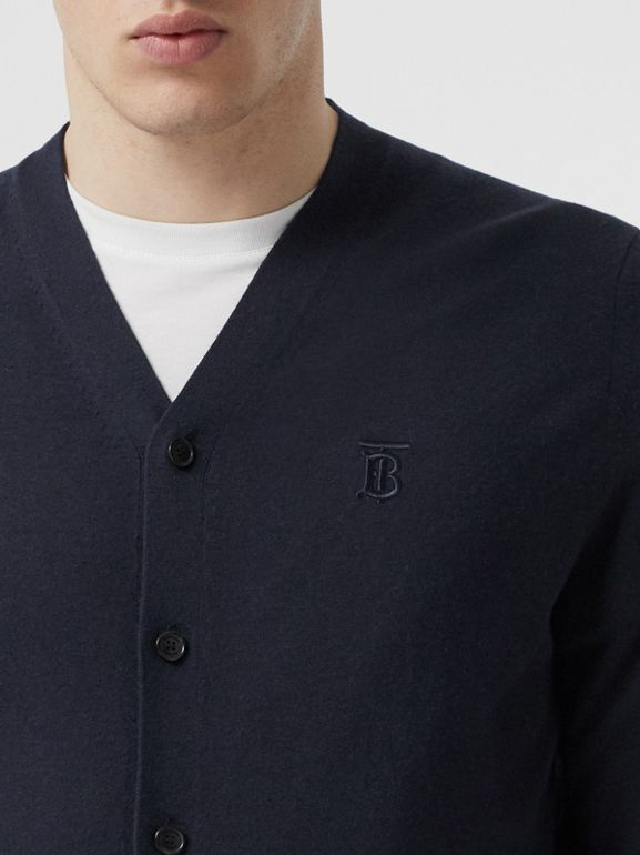 Monogram Motif Cashmere Cardigan in Navy - Men | Burberry - cell image 1