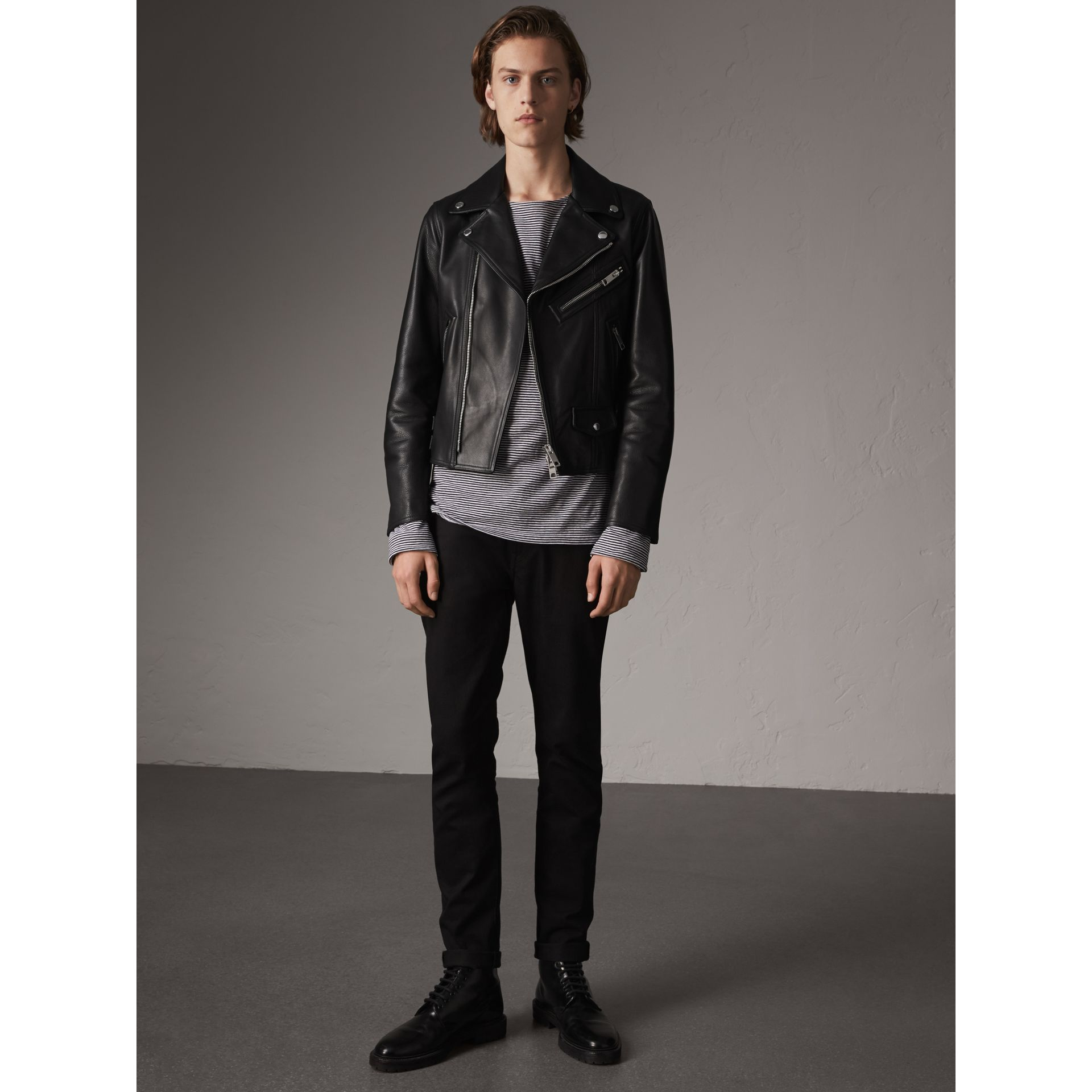 Leather Biker Jacket in Black - Men | Burberry Singapore - gallery image 6