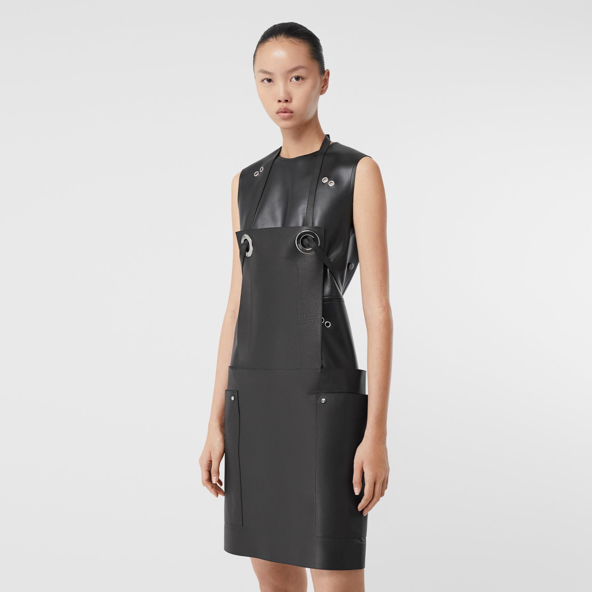 Eyelet Detail Leather Sleeveless Dress in Black - Women | Burberry - gallery image 6