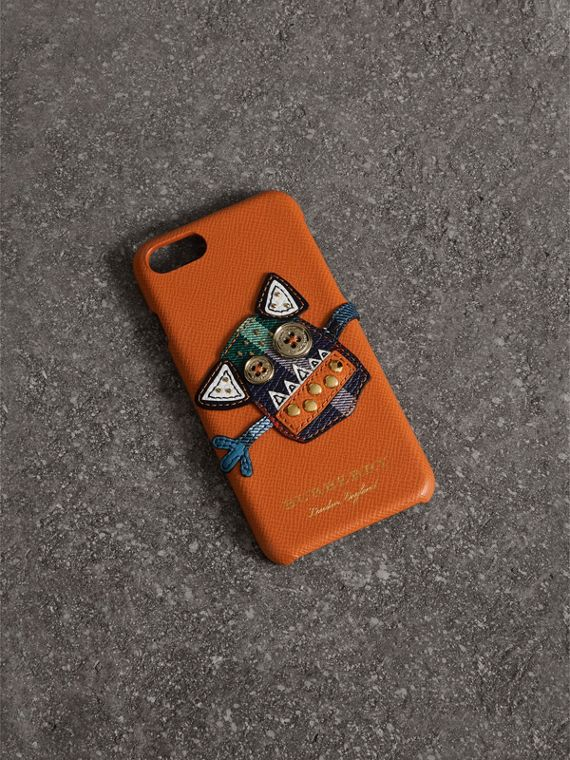 Creature Appliqué Leather iPhone 7 Case in Clementine